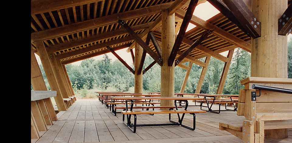 <p>Fishtrap Creek Park - Picnic Shelter - Abbotsford, BC</p><p>Fishtrap Creek Park is a stormwater retention area designed by Landscape Architect Catherine Berris. Within the park are 6 structures including an Entry Pier, Bridge, Reading Shelter, Picnic Shelter, Railway Observation Deck, and a Boardwalk. Completed in 1995.</p>