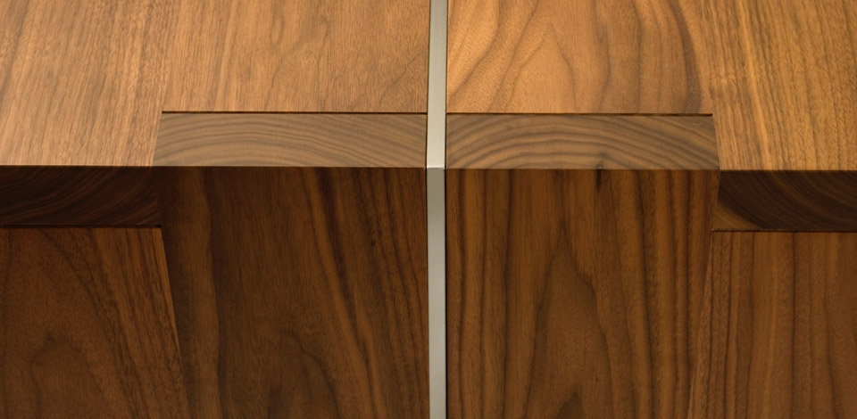 <p>Equal Table Detail</p><p>2005</p><p>Designed as a desk for a home office. </p><p>Shown here in solid walnut with a cold rolled steel plate structure.</p><p>Height 28'' Width 40'' Length 8'-0''</p>