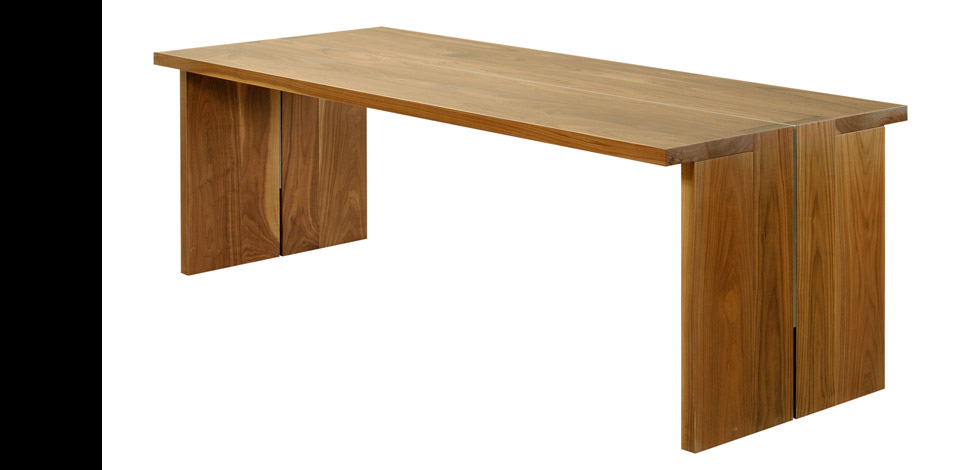 <p>Equal Table</p><p>2005</p><p>Designed as a desk for a home office. </p><p>Shown here in solid walnut with a cold rolled steel plate structure.</p><p>Height 28'' Width 40'' Length 8'-0''</p>